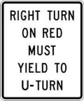 right turn yield U-turn